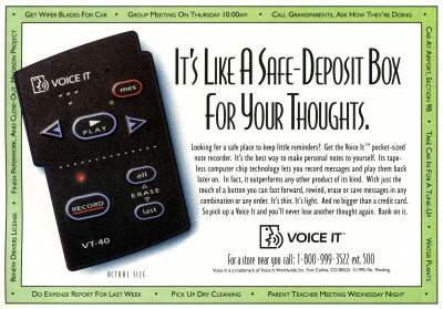 Voice It VT-40 Flash Memory Digital Voice Recorder Discover Magazine advertisement scan - 1995