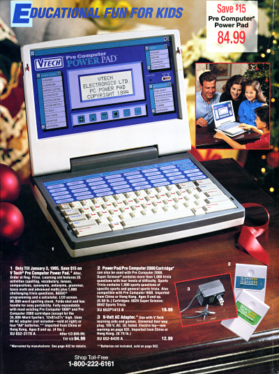 VTech PreComputer Power Pad JCPenney Christmas catalog xmas back cover - 1994