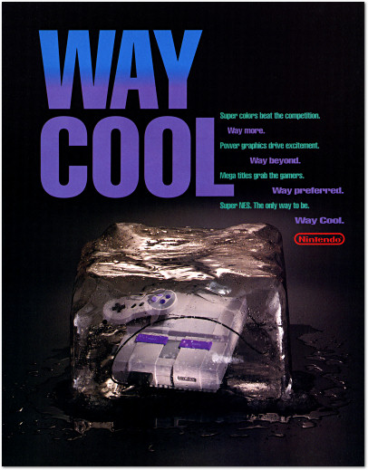 Way Cool Super NES Super Nintendo Ice Cube Ad -1994