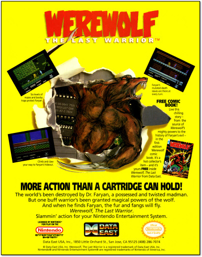 Werewolf: The Last Warrior NES Game Ad - 1991