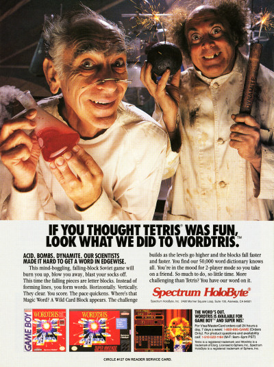 Spectrum HoloByte Wordtris Game Boy Super NES advertisement - 1992