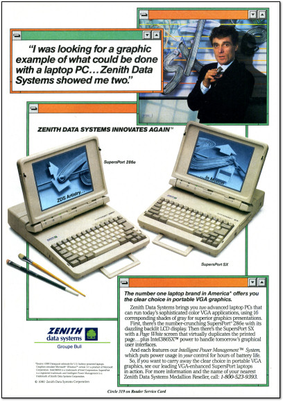 Zenith Supersport 286e and Zenith Supersport SX Ad - 1990