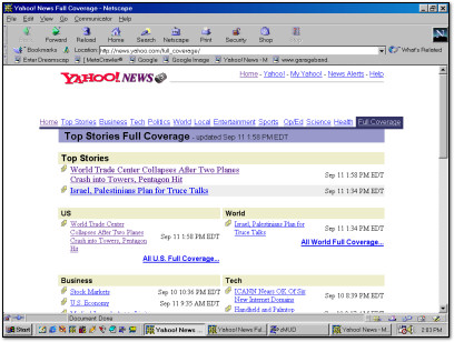 Benj Edwards - World Trade Center September 11th 2001 Yahoo News Screenshot