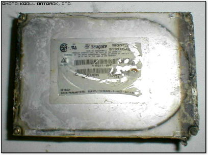 Damaged Space Shuttle Columbia Hard Disk Drive