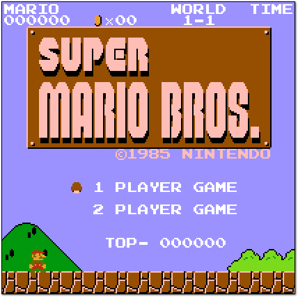 Super Mario Bros. (1985) Title Screen, Cropped