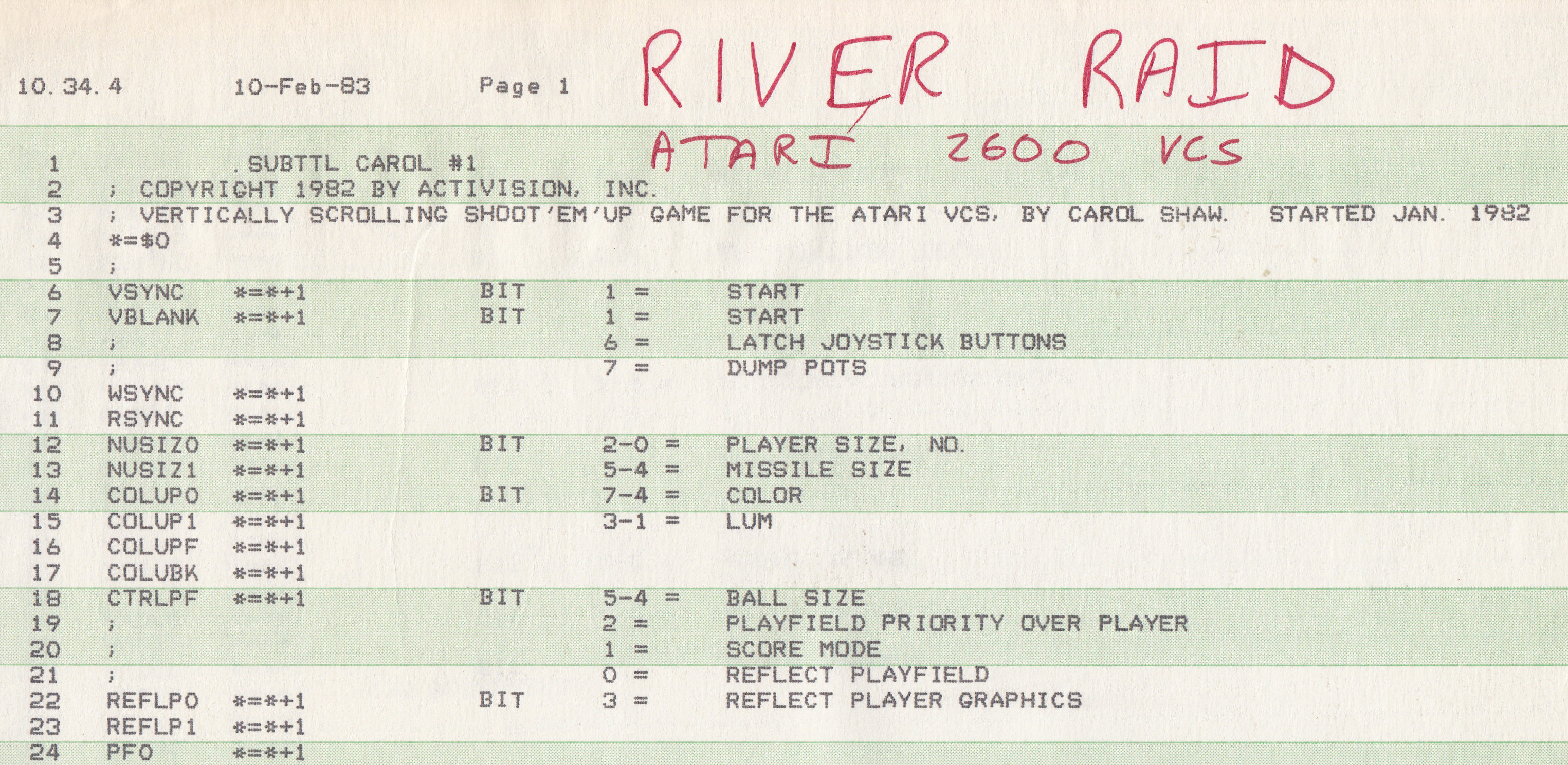 Carol Shaw's River Raid Atari 2600 Source Code Photo