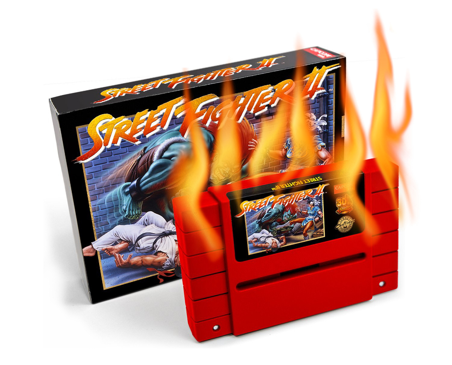 iam8bit Street Fighter II limited edition reproduction cartridge is a fire hazard on fire