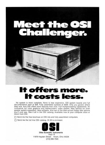 Ohio Scientific Instruments OSI Challenger 6502 Vintage PC personal computer Byte Magazine advertisement scan - 1977