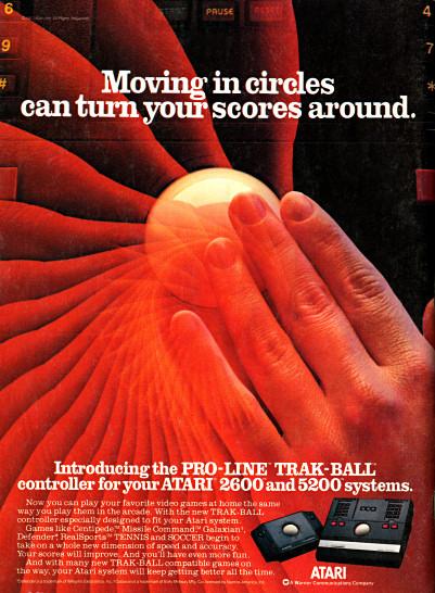 Atari 5200 and Atari 2600 Trak-Ball advertisement scan - 1983