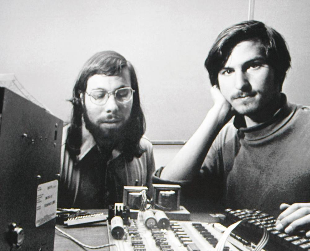 Steve Wozniak and Steve Jobs with an Apple I