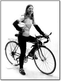 Carol Shaw with bicycle, 1983