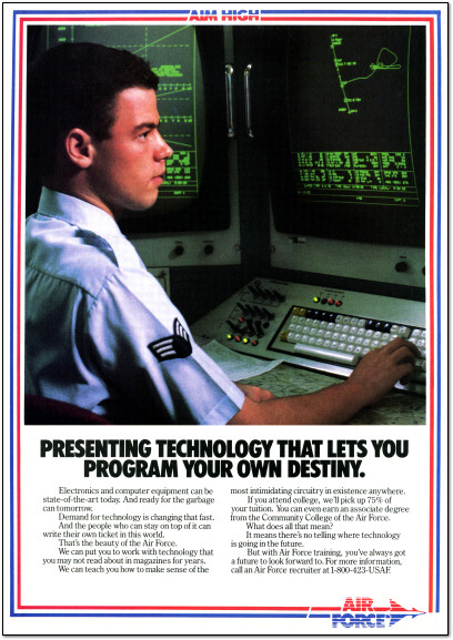 United States Air Force Computer Programming Advertisement - 1987