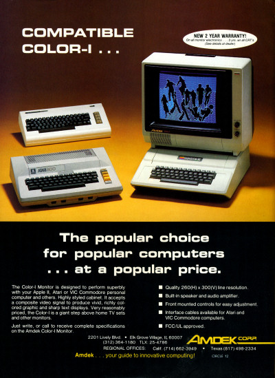 Atari Commodore Apple II Amdek Color-I Monitor Ad - 1983