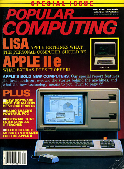Apple Lisa and Apple IIe on the cover of Popular Computing - March 1983