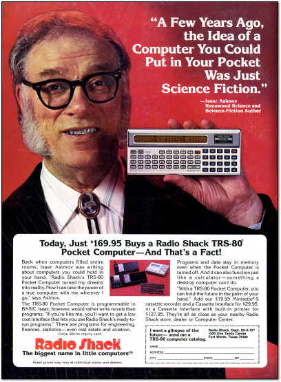 Isaac Asimov promotes the TRS-80 Pocket Computer - Magazine Ad - 1982