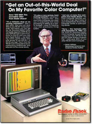 Isaac Asimov TRS-80 Color Computer Ad