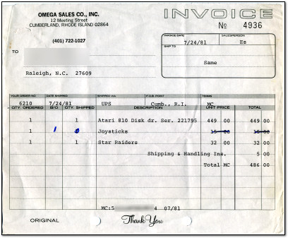 Benj's Atari 810 Receipt from 1981