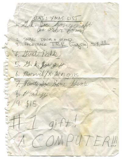 Scan of Benj Edwards 1992 Christmas Xmas List 1992