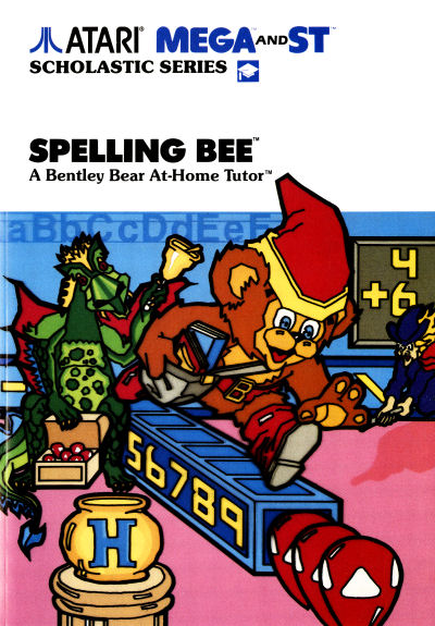 Atari Scholastic Series Spelling Bee a Bentley Bear At-Home Tutor Crystal Castles Educational Software Atari ST Atari Mega and ST box packaging scan - 1988