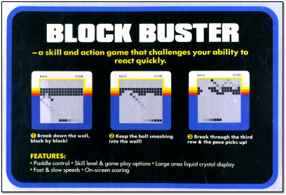Blockbuster from Back of Milton-Bradley Microvision Box - 1979