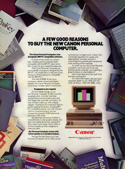 Canon Personal Computer IBM PC compatible clone Advertisement 1985