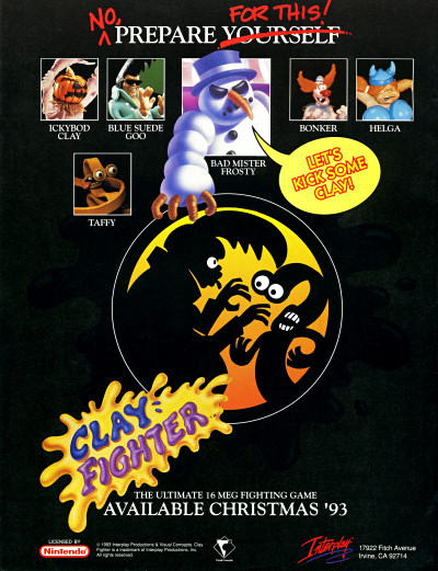 ClayFighter SNES Christmas 1993 Launch Ad Advertisement- 1993