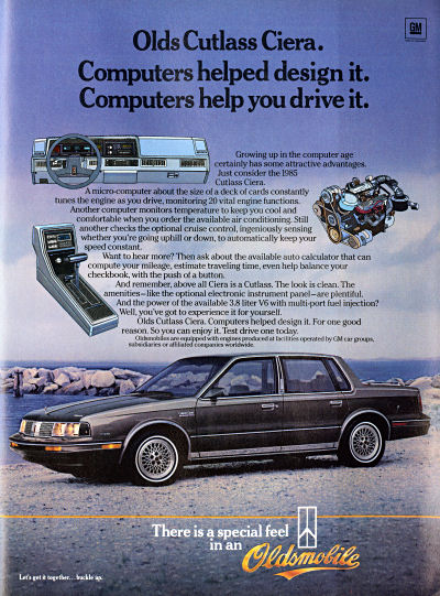 Oldsmobile Cutlass Cierra Computer Control fuel efficiency advertisement scan - 1984
