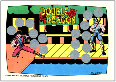 Double Dragon Nintendo Game Packs Scatch-Off Game Card Front - 1989