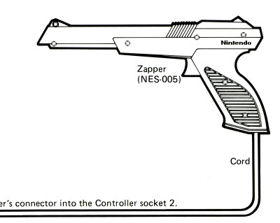 Nintendo NES Zapper diagram from Super Mario Bros. Duck Hunt Instruction Manual - circa 1988