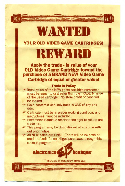 Electronics Boutique Used Games Wanted Reward Flyer Flier - circa 1994
