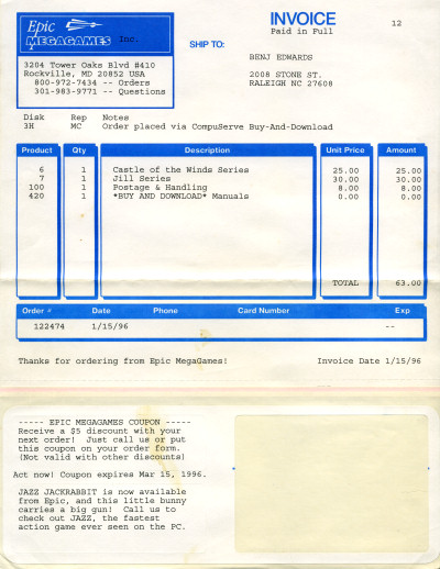 Epic MegaGames Shareware Registration Invoice - 1996