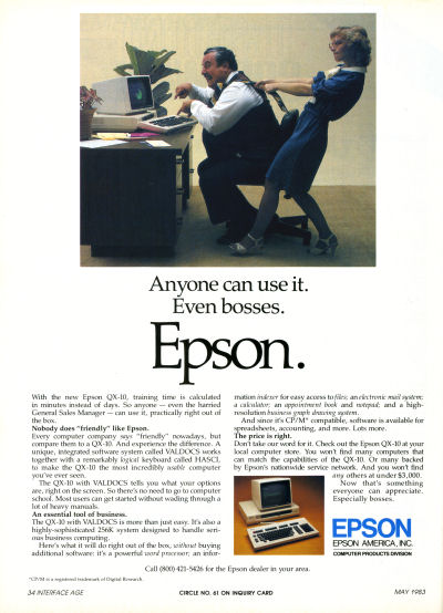 Epson QX-10 Personal Computer Boss Secretary Pulling Tie CPM advertisement - 1983