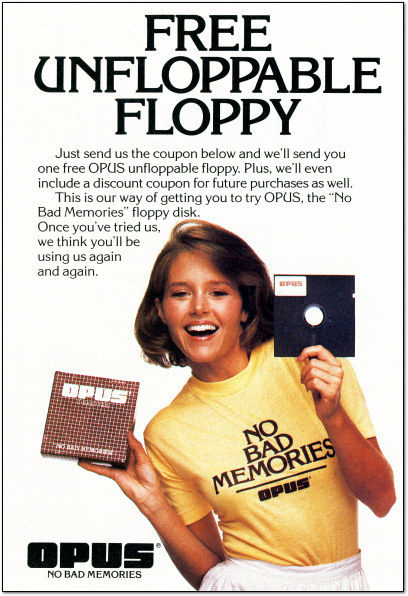 Floppy Girl - Opus Floppy Disk Ad - 1985