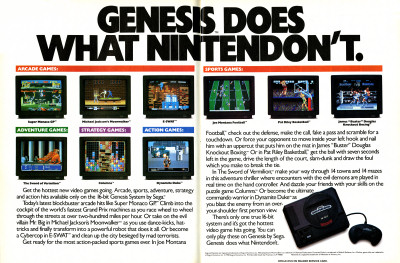 Sega Genesis advertisement Genesis Does What Nintendon't advertisement - 1991