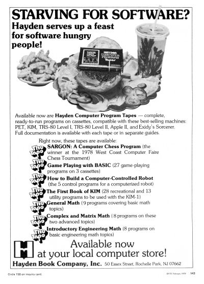 Hayden Book Company Computer Program Tapes Software Sargon Game Playing with BASIC How to Build a Computer-Controlled Robot The First Book of KIM General Math Complex and Matrix Math Introductory Engineering Math advertisement scan - 1979