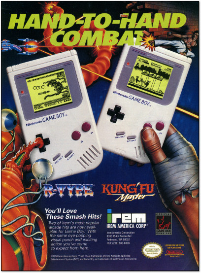 Irem Game Boy Ad - R-Type - Kung-Fu Master - 1991