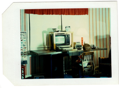 Jeremy playing Slime on Atari 800 in his room - personal family photo polaroid - January 14 1983