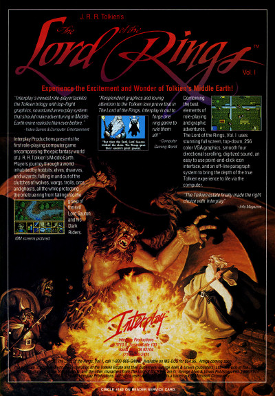 Interplay Lord of the Rings PC Game Advertisement - 1990