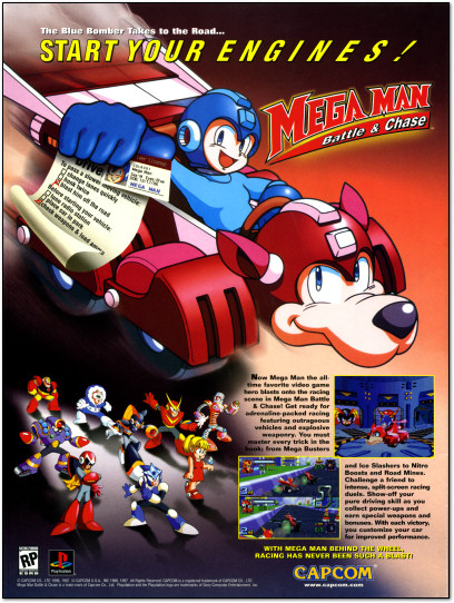 Mega Man Battle and Chase PlayStation PS1 PSX Ad - 1997