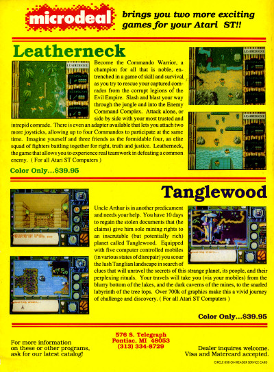 Microdeal Leatherneck Tanglewood Atari ST 1040ST computer games - 1988