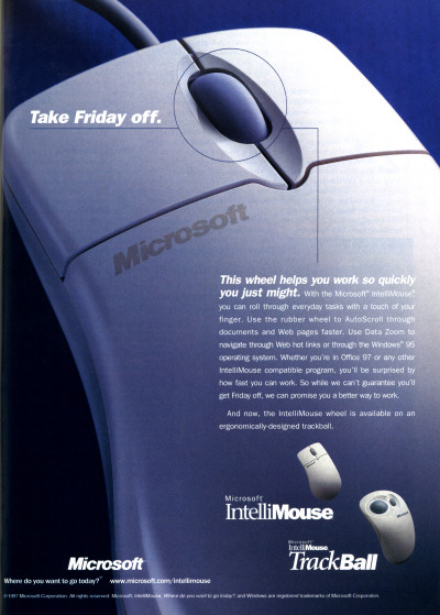 Early Microsoft Intellimouse Intellimouse Trackball advertisement - 1997