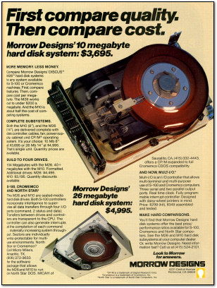 Morrow Designs Hard Disk Advertisement
