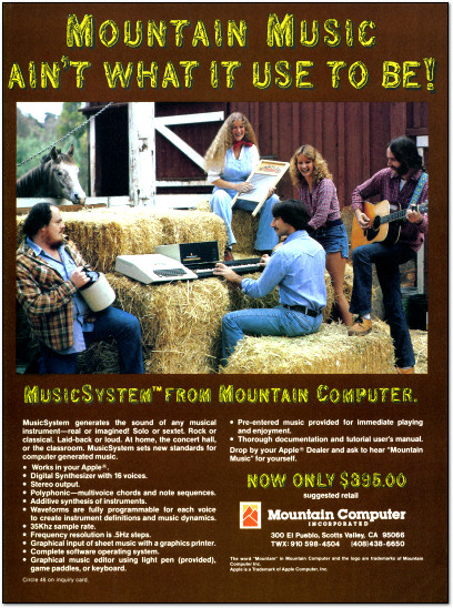 Mountain Computer MusicSystem Music System Apple II Ad - Mountain Music - 1982