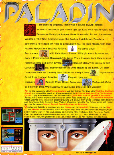 Omnitrend Software Atari ST Paladin game advertisement - 1988