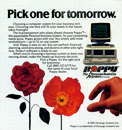 Durango Poppy Personal Business System computer advertisement - 1983