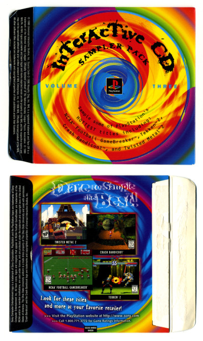 Sony PlayStation 1 PSX PS1 Interactive CD Sampler Pack Volume Three 3 CD case cover sleeve - 1996