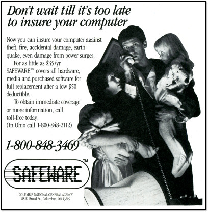Safeware Computer Insurance Ad - 1983