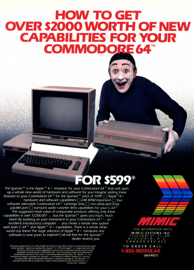 Mimic Systems Spartan Commodore 64 Apple II+ expansion box advertisement ad - 1985