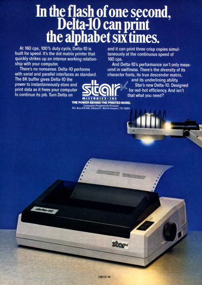 Star Micronics Delta-10 Dot Matrix Printer Ad - 1983