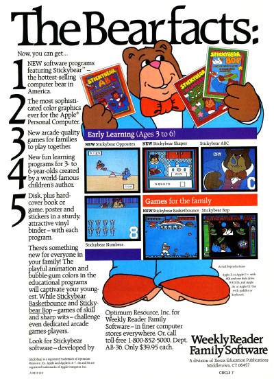 Weekly Reader Educational Software Stickybear Educational Game Software Advertisement 1983